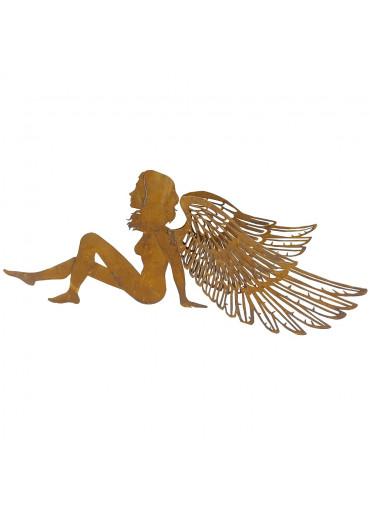 Edelrost Engel sitzend mit filigranen Flügeln
