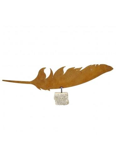 Edelrost Feder auf Stein B 60 cm
