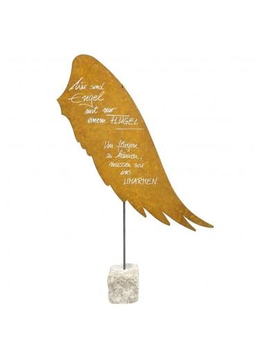 XXL Edelrost Flügel mit Spruch auf Stein H 114 cm