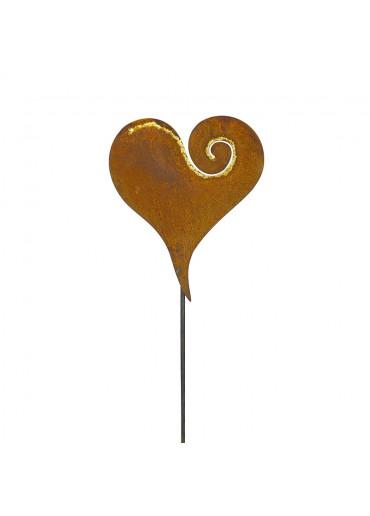 """Edelrost Gartenstecker """"Herz mit Goldcurl"""" H 118 cm"""