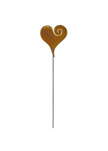 Edelrost Herz mit goldenem Curl Nahaufnahme