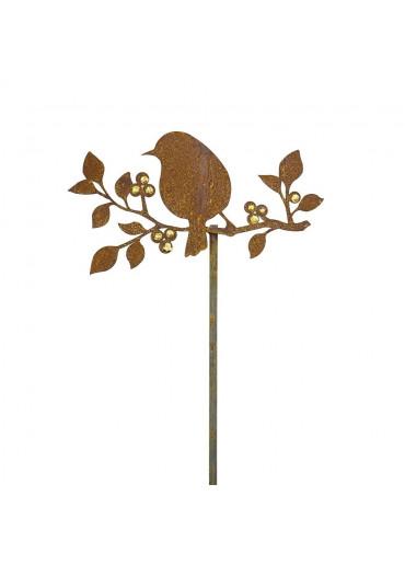 Edelrost Gartenstecker Vogel sitzend auf Goldbeerenast H118 cm
