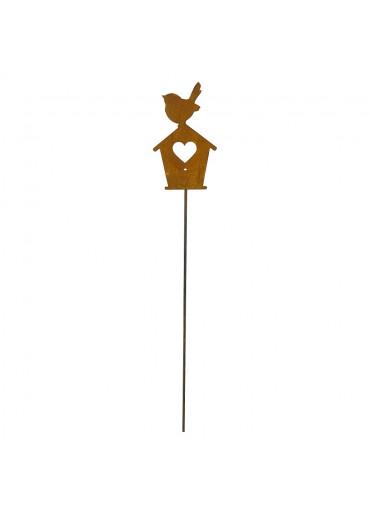 Edelrost Stab mit Vogel auf Haus Nahaufnahme