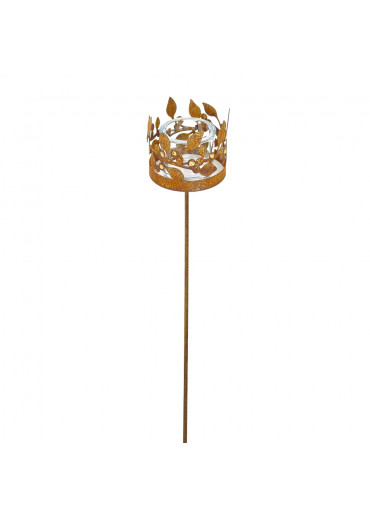 Edelrost Windlicht Ring mit Goldbeeren für Gartenstecker