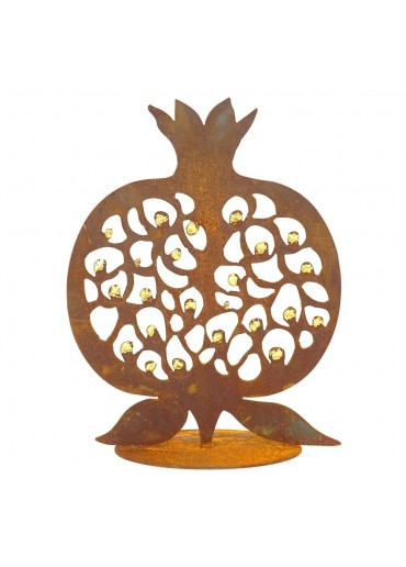 Edelrost Granatapfel mit Goldkernen H 40 cm