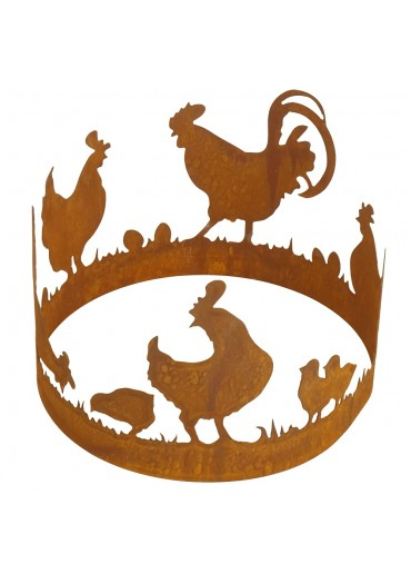 Edelrost Hühnerring groß Ø40 cm
