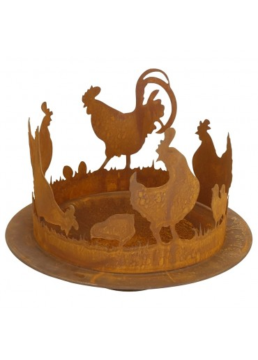 Set: Edelrost Hühnerring groß Ø40 cm mit Pflanzschale  Ø50 cm
