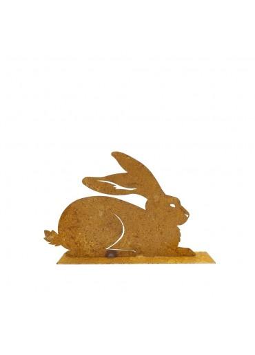 """Edelrost Hase """"sitzend"""" klein auf Platte H13,5 cm"""