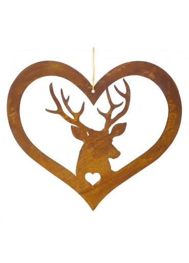 Edelrost Herz mit Hirsch groß H35 cm