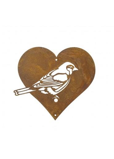 Edelrost Meise in Herz für Vogelfutter klein (Form A)