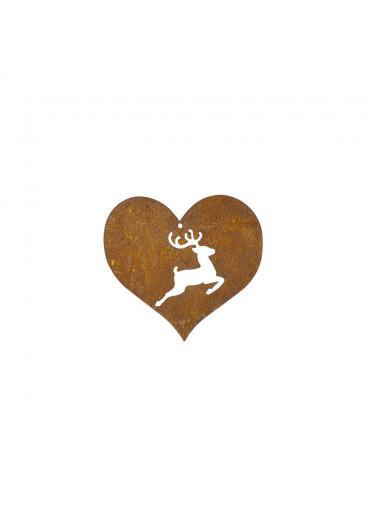 Edelrost Herz mit springendem Hirsch klein H15 cm