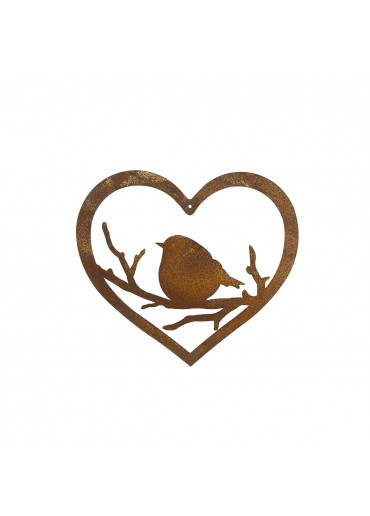 Edelrost Vögelchen in Herz zum Aufhängen