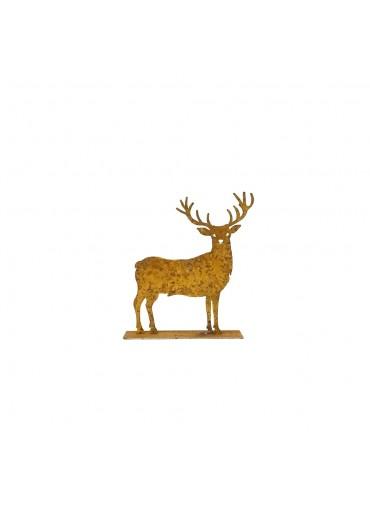 Edelrost Hirsch klein auf Platte dekoriert