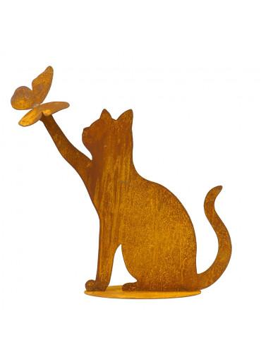 Edelrost Katze mit Schmetterling