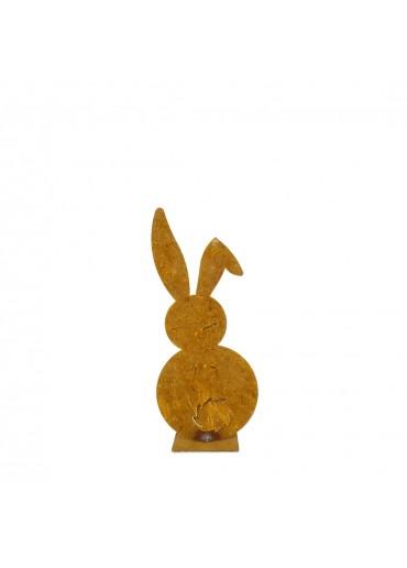 Edelrost Hase mit Knickohr mini auf Platte H15 cm