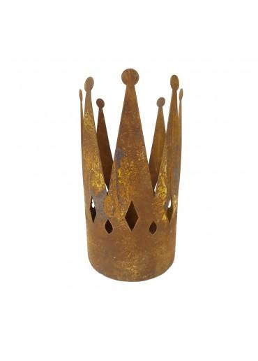 Edelrost Krone mit Bodenplatte groß