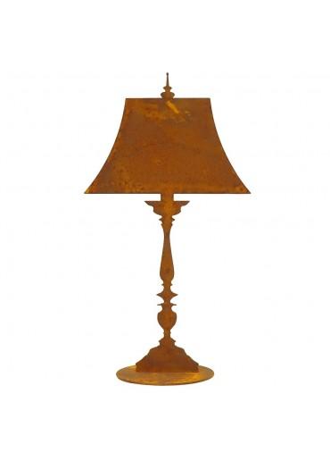 Edelrost Lampe hoch auf Platte H56 cm