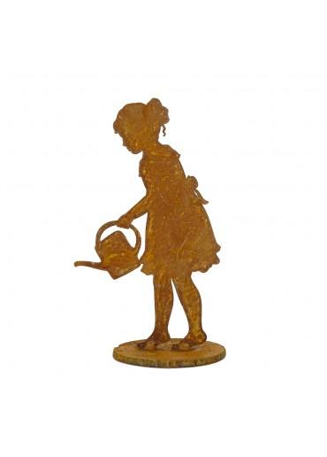 """Edelrost Mädchen """"Lisa"""" mit Gießkanne auf Platte M  H 18 cm"""