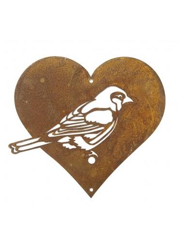 Edelrost Meise in Herz für Vogelfutter groß (Form A)