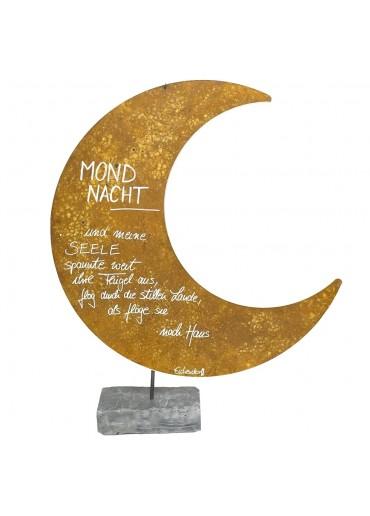XXL Edelrost Mond mit Spruch auf Schiefer H 93 cm