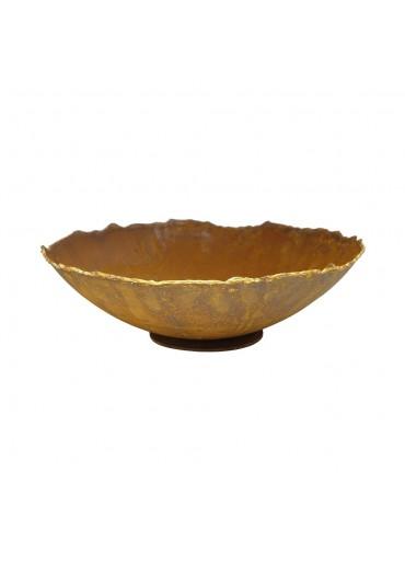 Edelrost Ripple Schale mit Goldrand M Ø34 cm