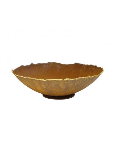 Edelrost Ripple Schale mit Goldrand M Ø27 cm
