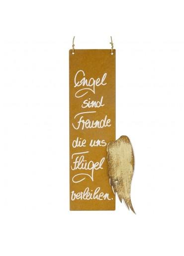 Edelrost Spruchtafel S hoch Flügel | Engel sind Freunde