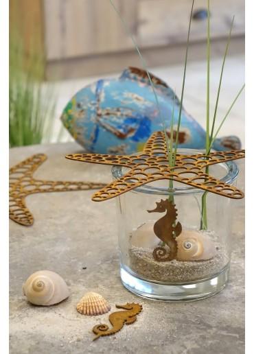 Edelrost Seepferdchen mini mit Spieß H8 cm