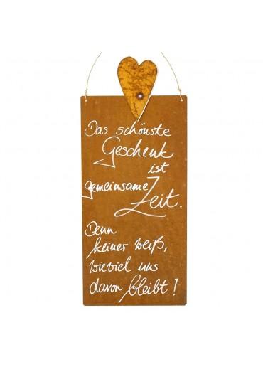 Rostige Spruchtafel L Herz | Das schönste Geschenk