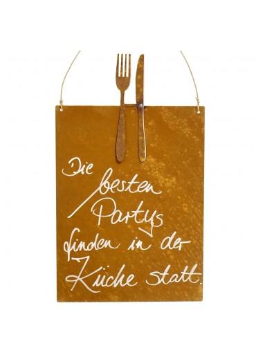 Edelrost Spruchtafel M Besteck | Die besten Partys