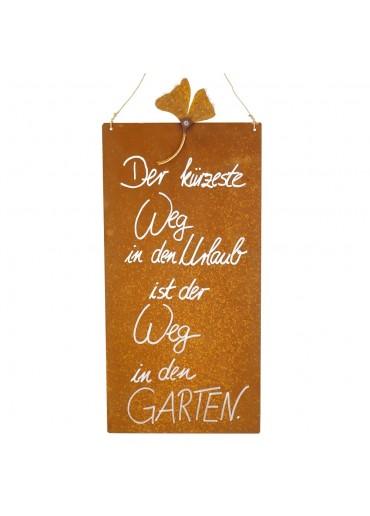 Rostige Spruchtafel L Ginkgo | ... in den Garten