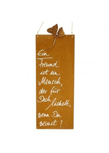 Edelrost Spruchtafel L schmal Ginkgo | Ein Freund ist ein Mensch...