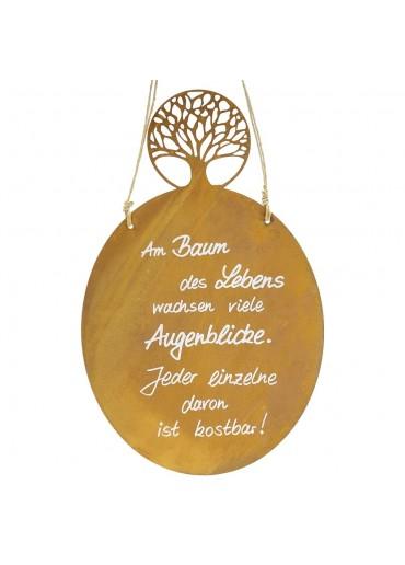 Edelrost Spruchtafel mit Lebensbaum