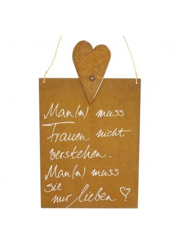 Edelrost Spruchtafel M Herz | Frauen verstehen