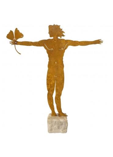 """Edelrost Statue """"vitruvianischer Mann"""" auf Naturstein groß H58 cm"""