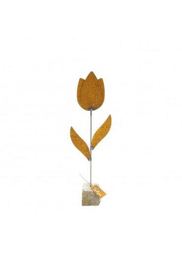 """Edelrost Tulpe """"Tulipa"""" auf Stein"""
