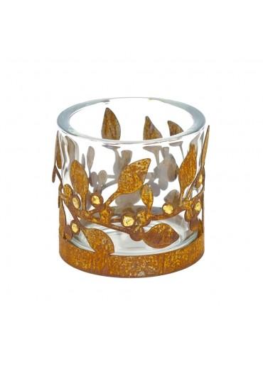 Edelrost Windlicht Ring mit Goldbeeren Ø12,5 cm