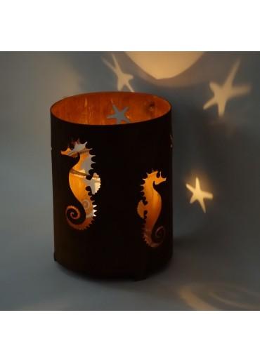 """Edelrost Windlicht """"Seepferdchen"""" mittel H20 cm"""