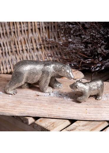 Bronze Eisbär groß silbern patiniert