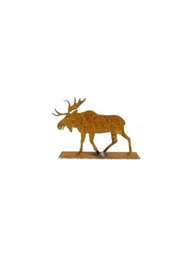 Edelrost Elch auf Platte mini H7,5 cm