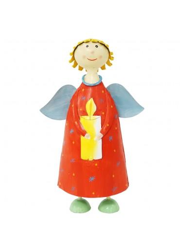 """Metall Engel """"himmlische Anna"""" mit Kerze rot groß H22 cm"""
