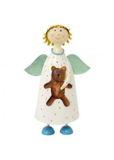 """Metall Engel """"himmlische Anna"""" mit Teddy weiß groß H22 cm"""