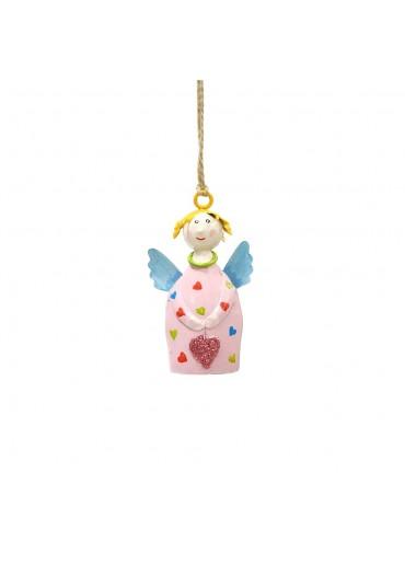 Engel Lotta mini zum Hängen rosa Herzchen mit Glitzer