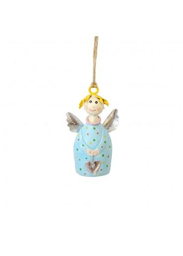 Engel Lotta mini zum Aufhängen hellblau mit silber