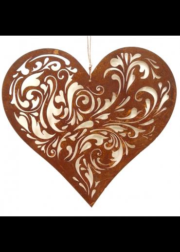 Rostiges Herz mit Barock Ausschnitten L
