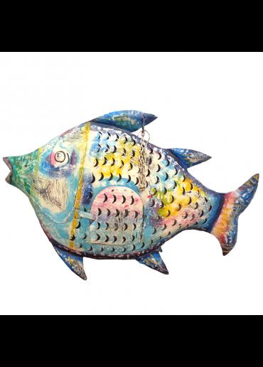 Fisch Metall XXL bunt zum Hängen und Stellen