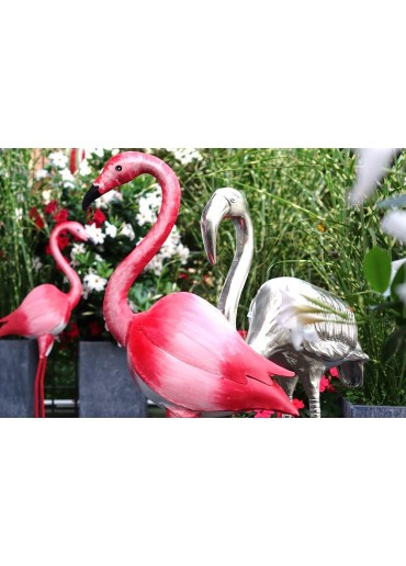XXL Flamingo Aluminium vernickelt H93 cm