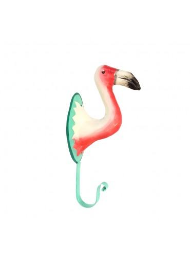 Flamingo Wandhaken Metall bemalt