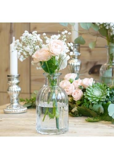 """Glas Flasche """"Jolie"""" mit Rillen H13,5 cm"""