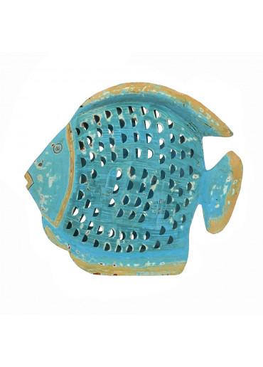 Metall Fisch Laterne türkis